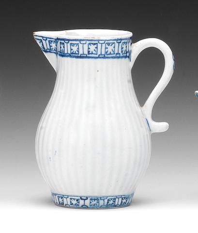 A Lowestoft sparrow beak cream jug, circa 1765