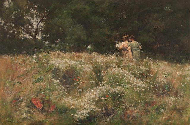 Charles Martin Hardie (British, 1858-1916) Gathering wild flowers
