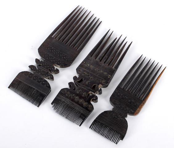 Three Pemba ebony combs Zanzibar, Tanzania 26cm high 3
