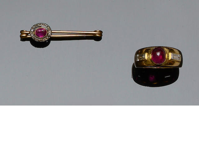 A ruby and diamond dress ring and a ruby and diamond brooch (2)