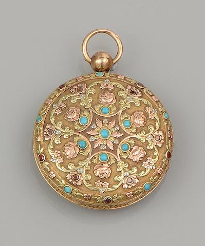 A vari gem-set open face pocket watch, circa 1830s
