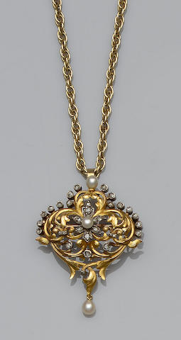 A pearl and diamond brooch/pendant (2)