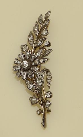 A diamond floral spray brooch