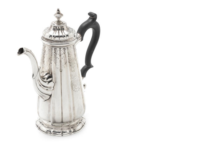 A George II  silver  coffee pot makers mark and date letter rubbed, possibly by John Pero, London, circa 1740