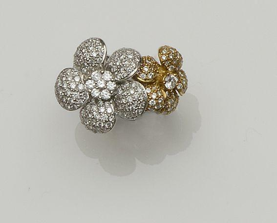 A diamond double flower ring