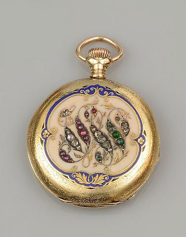 An enamel and vari gem-set hunter fob watch