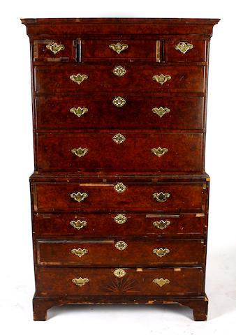 A 18th Century veneered walnut chest on chest