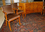 An English Art Deco walnut dining suite