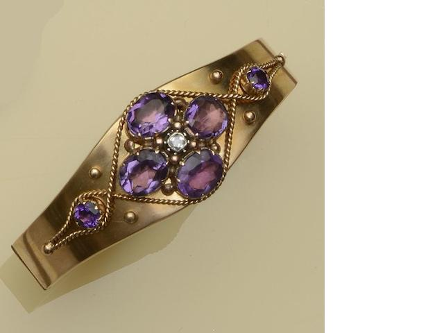 An amethyst and diamond hinged bangle