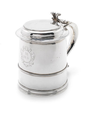 A Charles II  silver tankard maker's mark 'WS' below a bird, see Jackson's p.139, London, probably 1680