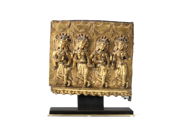 A very fine and rare gilt-bronze Densatil 'four dancers' frieze Ming Dynasty, 14th/15th century