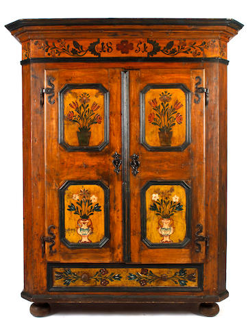 A late 18th/early 19th Century North European painted pine storage cupboard