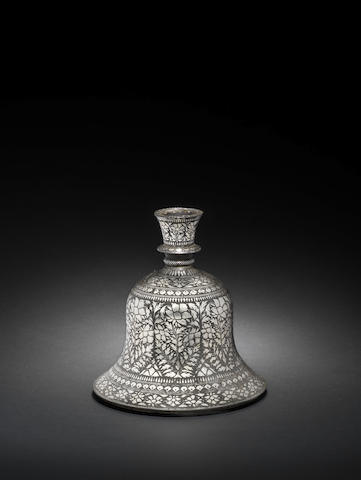A silver-inlaid alloy Bidri Huqqa Base Bidar, Deccan, 18th Century