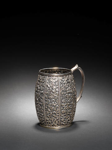A Kutch repoussé silver Mug India, late 19th Century