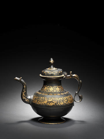A bronze ritual Teapot with damascened inscription Tibet, 19th Century