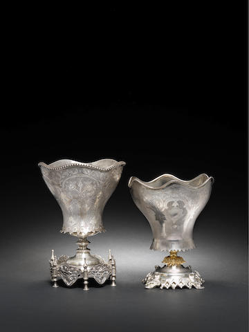 Two silver Ottoman sherbert spoon holders Turkey, 19th Century(2)
