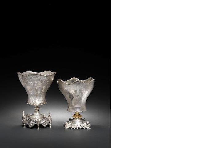 Paire de vases Ottomans en argent - A pair of silver Ottoman spoon holders, 19th century