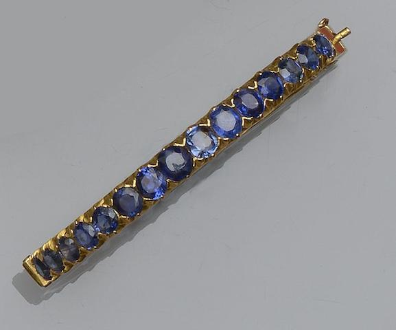 A sapphire set bangle