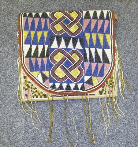 A Yoruba beaded shaman's bag, apo ifa, Nigeria 30 x 30cm