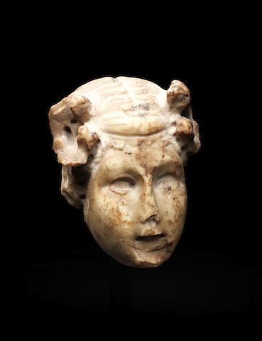 A Roman marble giallo antico herm style head