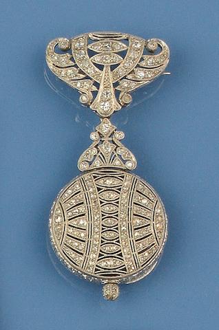 A diamond set brooch/pendant watch