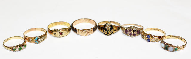 A collection of eight Antique variously set rings,