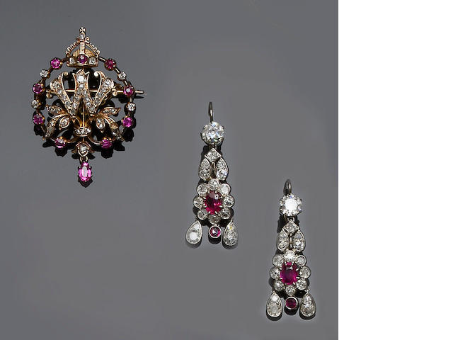 A pair of ruby and diamond earpendants and a ruby and diamond brooch (2)