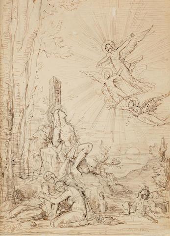 Gustave Moreau (French, 1826-1898) Saint Sebastien (étude avec saintes femmes et anges apparaissant)