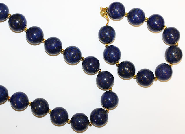 A lapis lazuli bead necklace and bracelet,