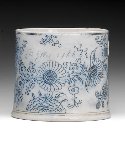 A Staffordshire scratch-blue saltglaze porter mug, dated 1766