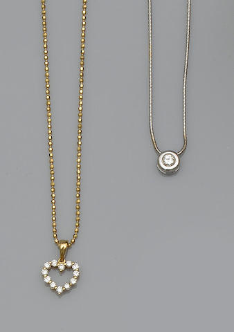 A diamond single stone necklace, a diamond heart necklace and a pair of cultured pearl earstuds (3)