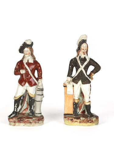 A pair of Staffordshire polychrome figures 19th century