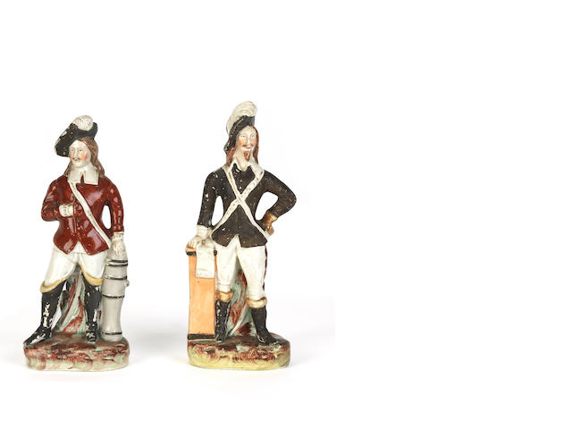 A pair of Staffordshire polychrome figures of cavaliers 19th century