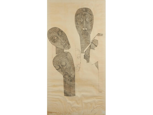 Dumile Feni-Mhlaba (Zwelidumile Mxgazi) (South African, 1942-1991) 'Composition for a Memoriam'