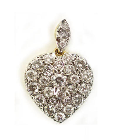A diamond heart-shaped pendant
