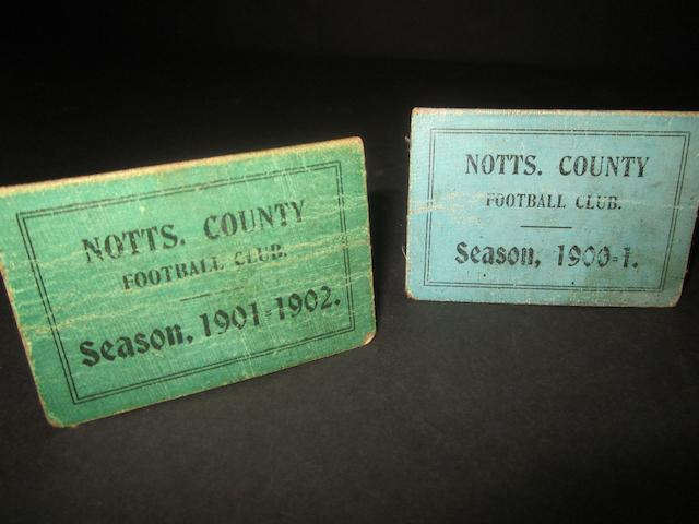 1900/01 and 1901/02 Notts County lady/boy season tickets
