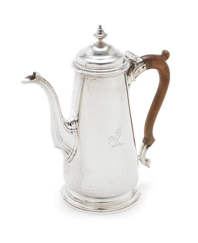A George II silver coffee pot by Ayme Videau, London 1741