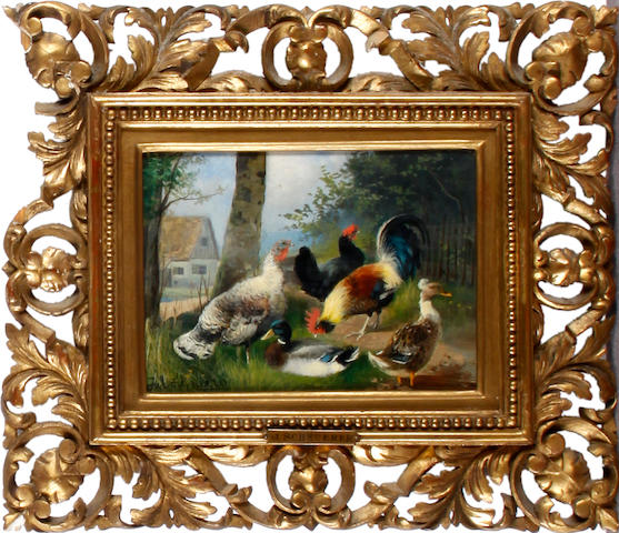 Julius Scheuerer (German, 1859-1913) Chickens and ducks in a farmyard