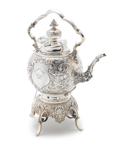A Victorian large silver kettle on stand by Charles Edwards, London 1897