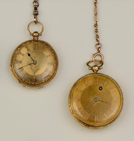 Two 18ct gold open face pocket watches(4)