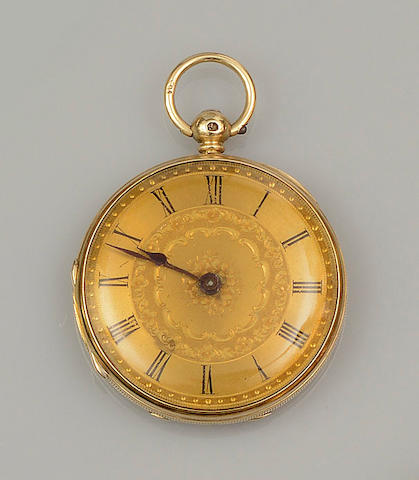 An 18ct gold open face fob watch