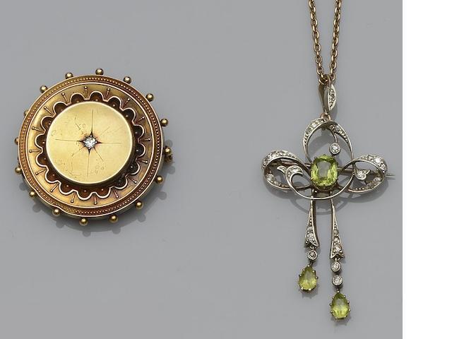 A late Victorian/Edwardian gem set brooch/pendant (2)