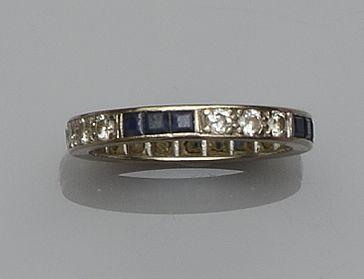 A sapphire and diamond eternity ring