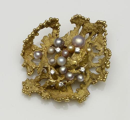 An 18ct gold diamond and cultured pearl brooch by Frances Margaret Beck, 1965