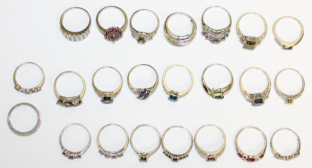A collection of 18 diamond and gem set rings, of various designs, mounts stamped either '9k' or '375', together with four further stone set rings, mounts stamped '925'. (22)