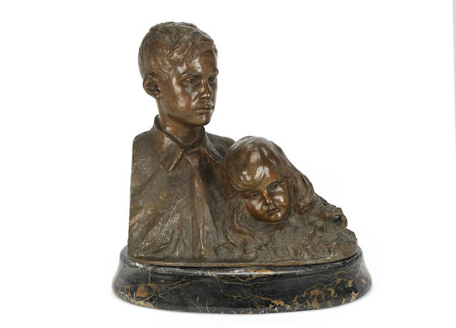 Hans Stoltenberg Lerche (German, 1867-1920)A bronze sculpture of two children