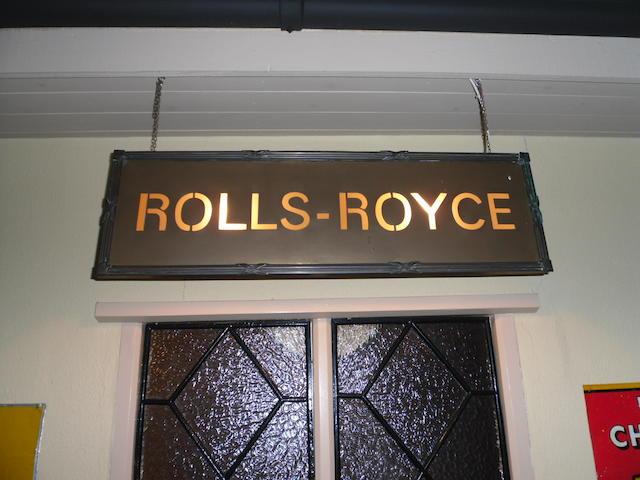 A Rolls-Royce illuminated showroom sign,
