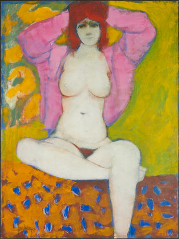 Douglas Portway (South African, 1922-1993) Female nude with pink jacket