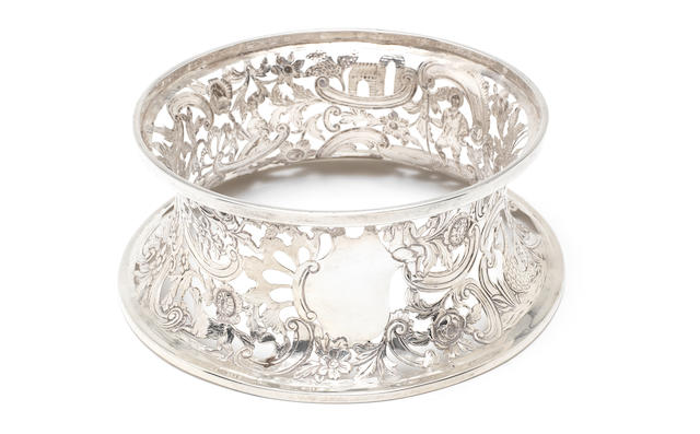 An Irish style metalware dish ring, unmarked