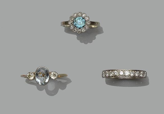 Three gem set rings (3)
